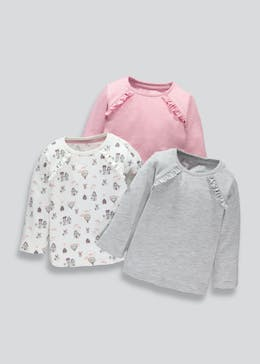 Girls 3 Pack Frill Long Sleeve T-Shirts (3mths-6yrs)