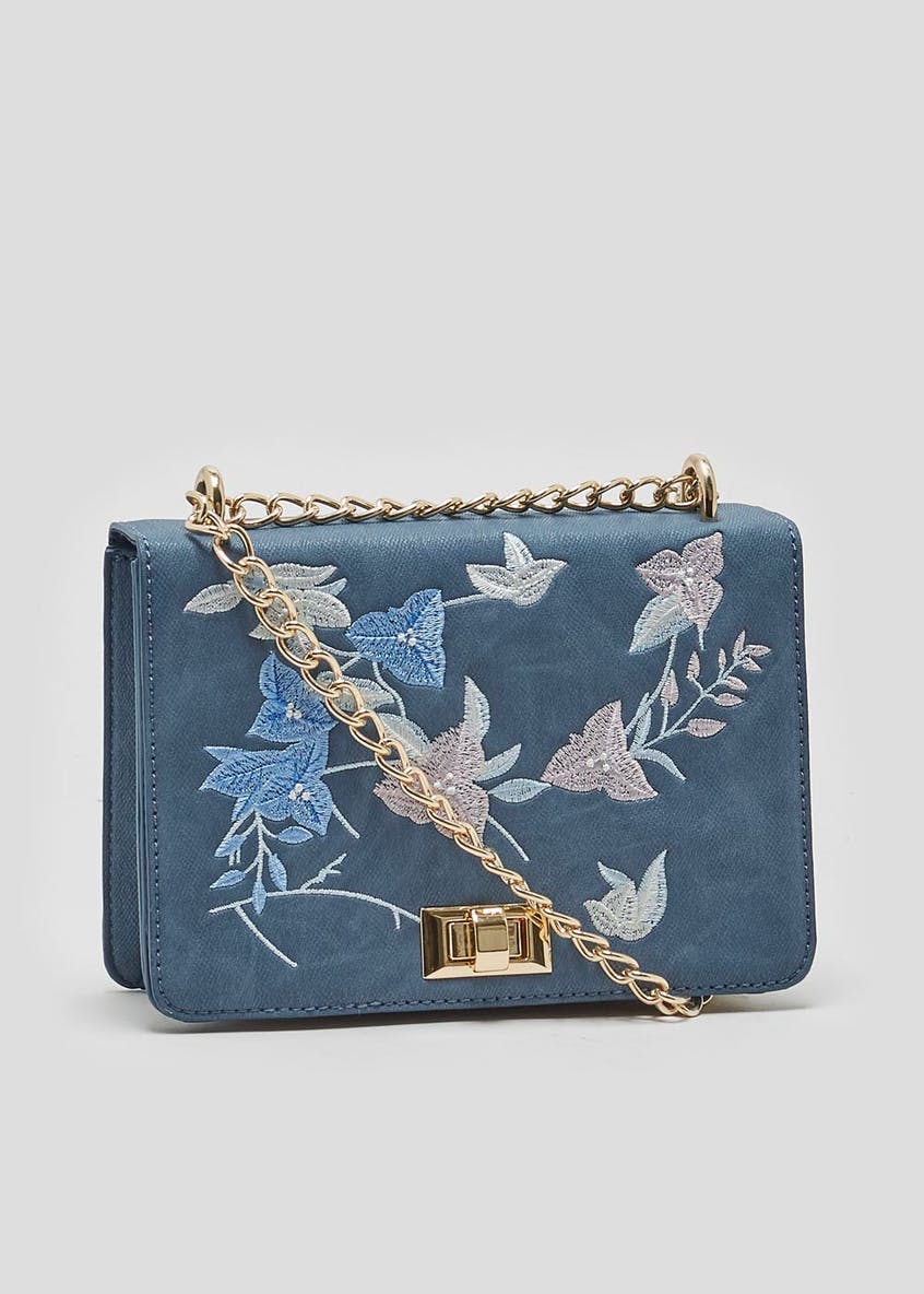 Embroidered Floral Chain Cross Body Bag