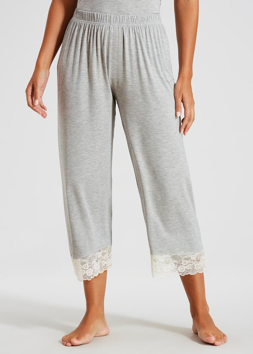 Lace Trim Cropped Pyjama Bottoms