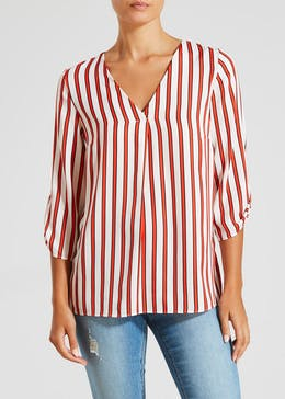 Stripe V Neck Blouse