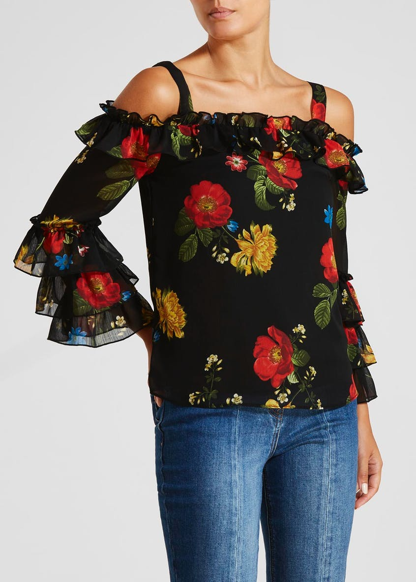 Floral Layered Frill Cold Shoulder Blouse