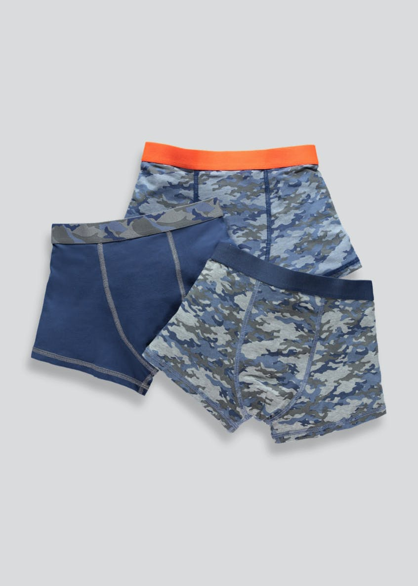 Boys 3 Pack Camouflage Trunks (2-13yrs)