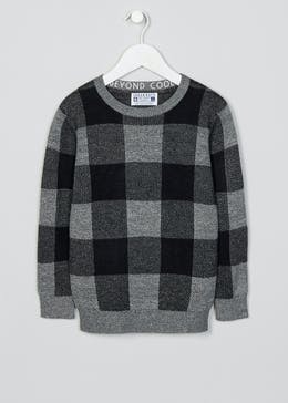 Boys Check Knitted Jumper (4-13yrs)