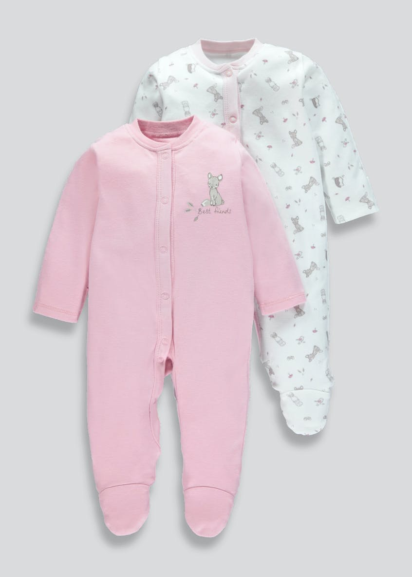 Unisex 2 Pack Woodland Animal Sleepsuits (Tiny Baby-18mths)