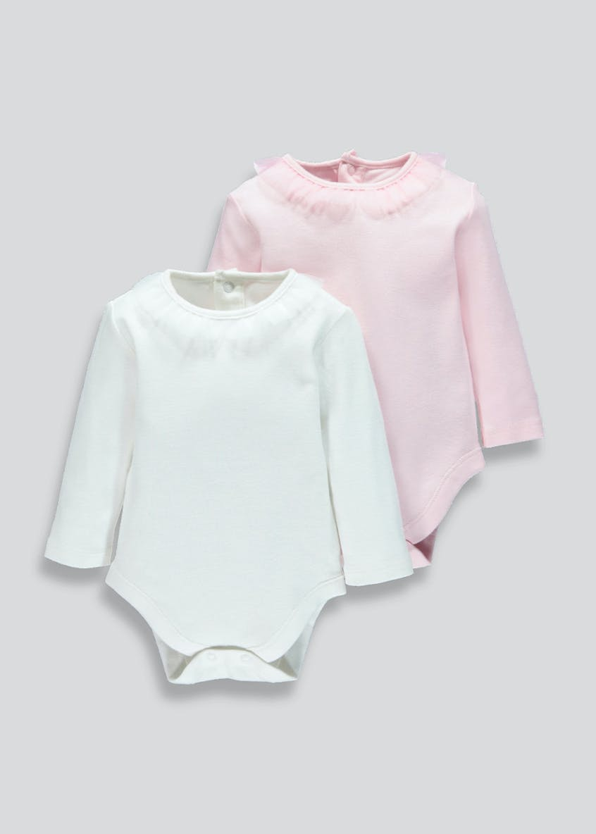 Girls Frill Neck Long Sleeve Bodysuits (Tiny Baby-18mths)