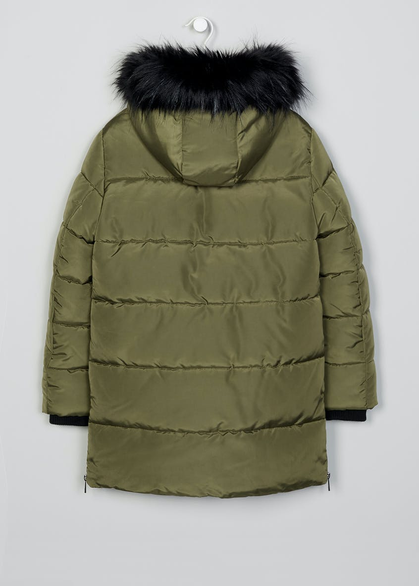 Girls Candy Couture Faux Fur Trim Parka (9-16yrs)