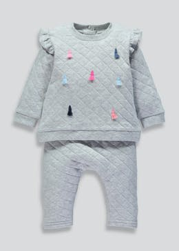 Girls Quilted Tassel Sweatshirt & Jogging Bottoms Set (Newborn-18mths)