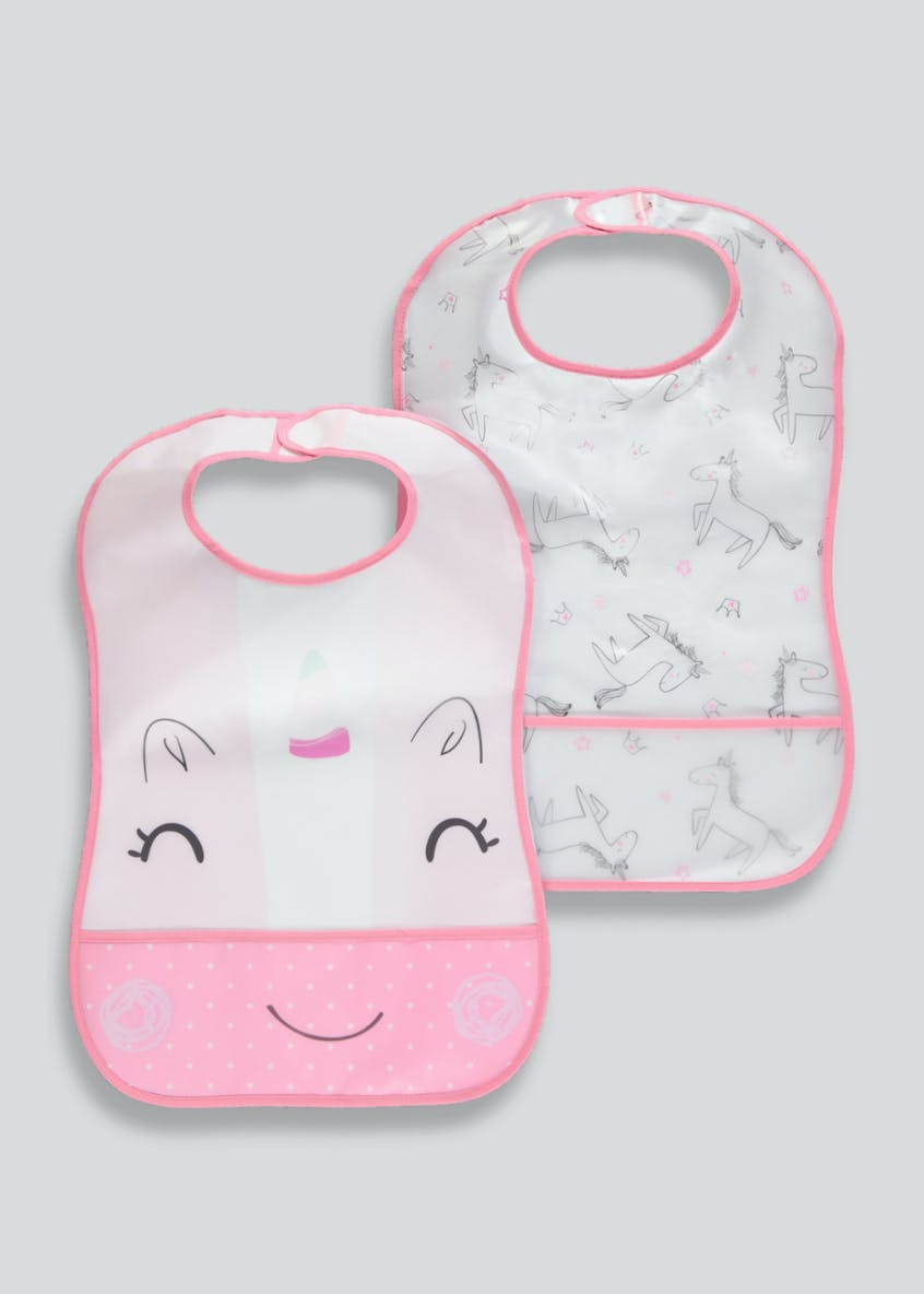 2 Pack Unicorn Bibs (One Size)