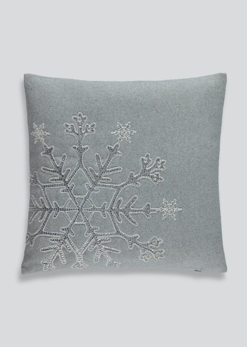 Sequin Snowflake Christmas Cushion (45cm x 45cm)