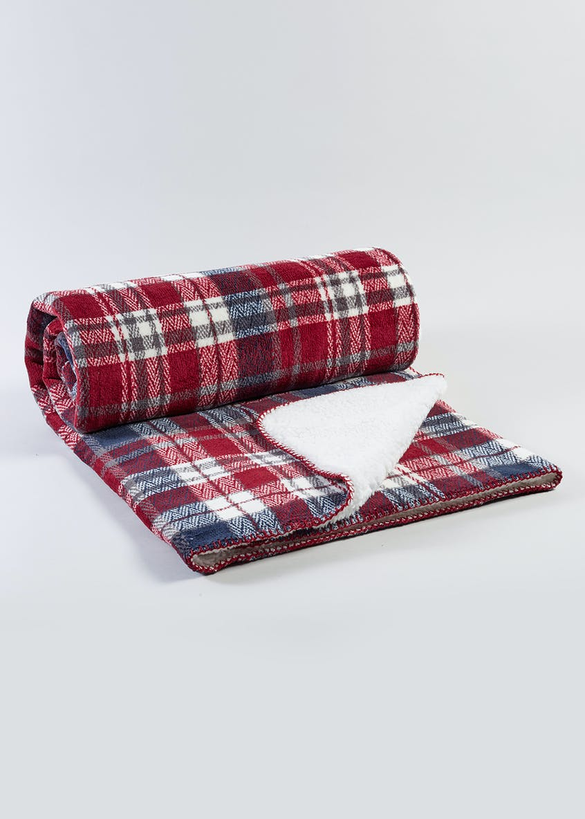 Check Sherpa Fleece Throw (180cm x 150cm)