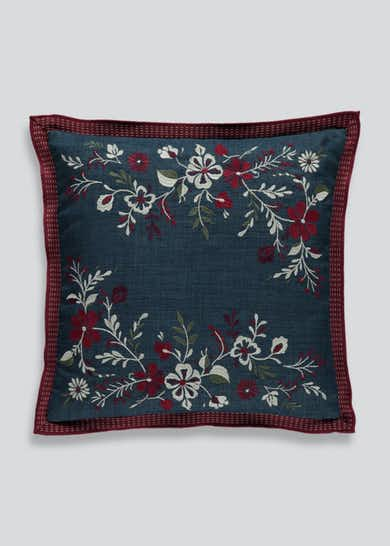 Floral Embroidered Cushion (48cm x 48cm)