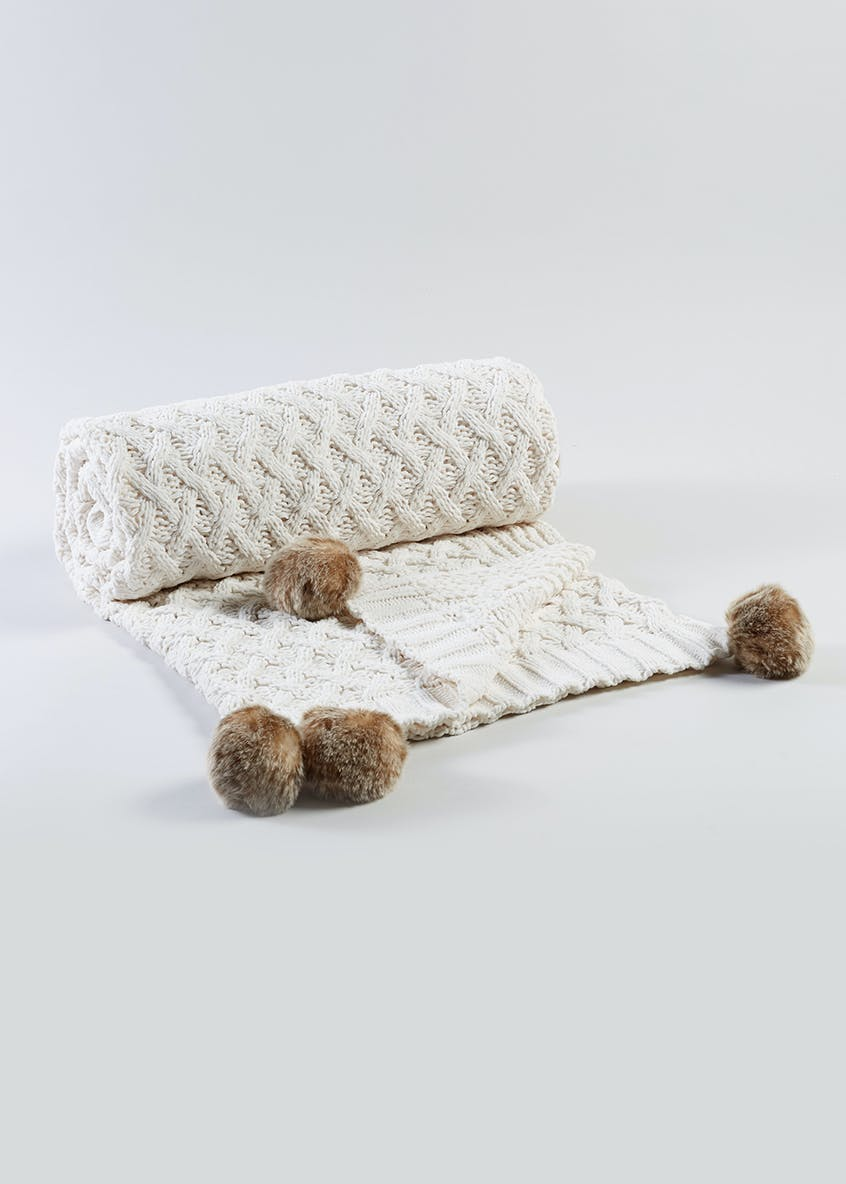 Knitted Chenille Pom Pom Throw (130cm x 150cm)