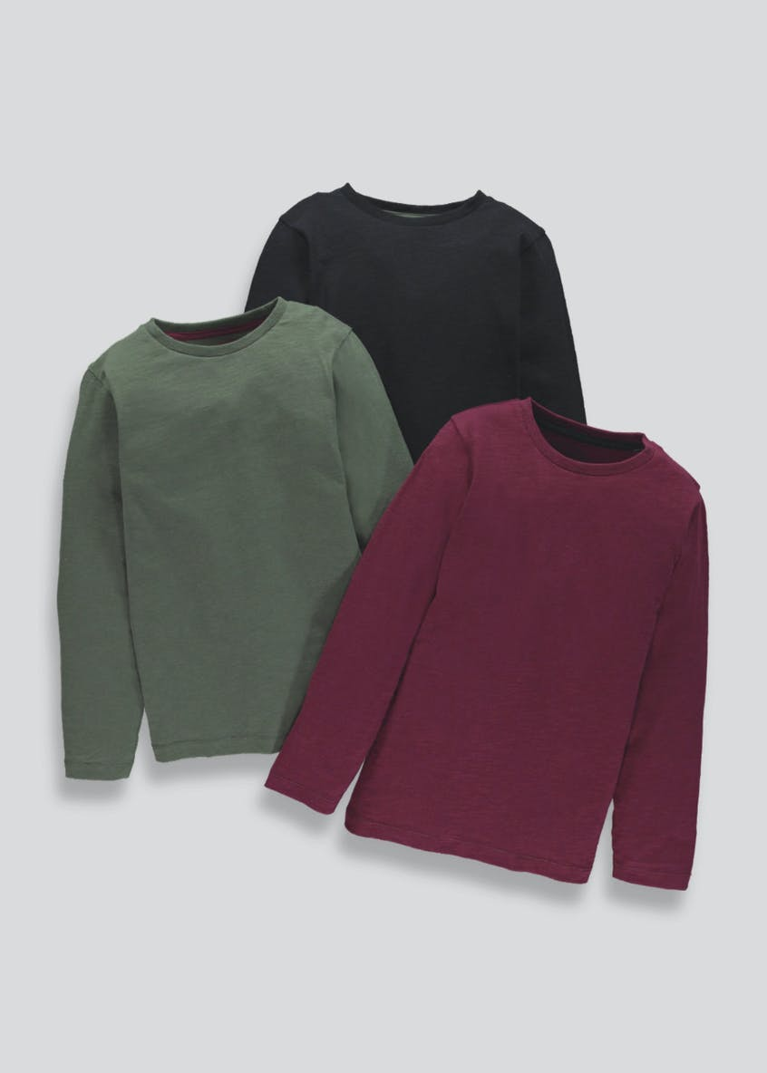 Boys 3 Pack Long Sleeve T-Shirts (4-13yrs)