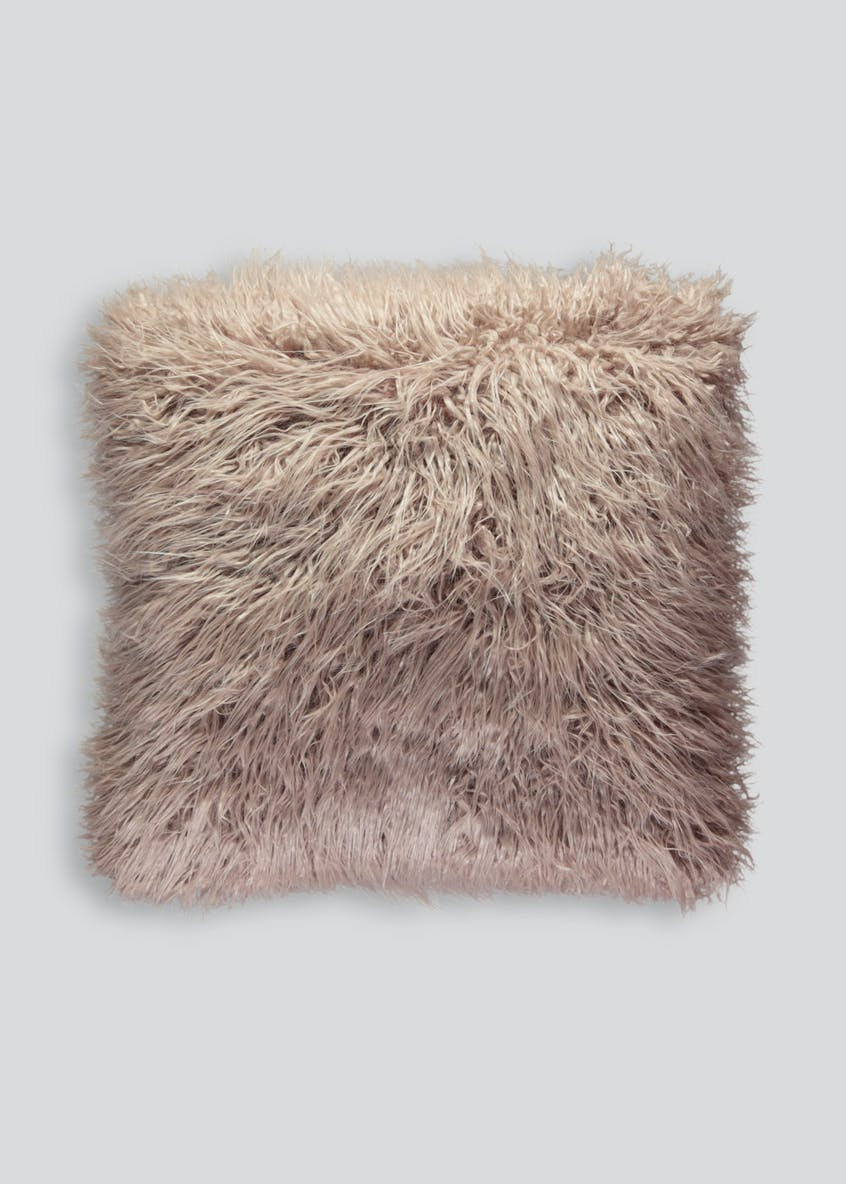 Large Double Sided Faux Mongolian Cushion (58cm x 58cm)