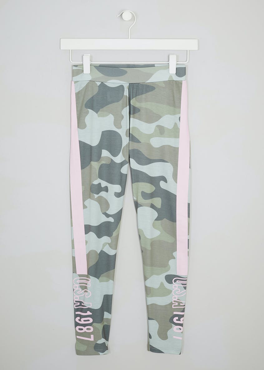 Girls Candy Couture Camouflage Side Stripe Leggings (9-16yrs)