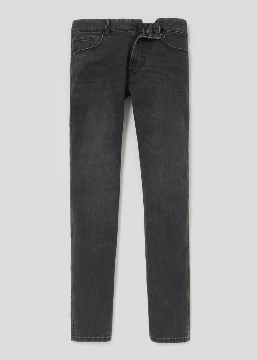 Stretch Skinny Fit Washed Black Jeans