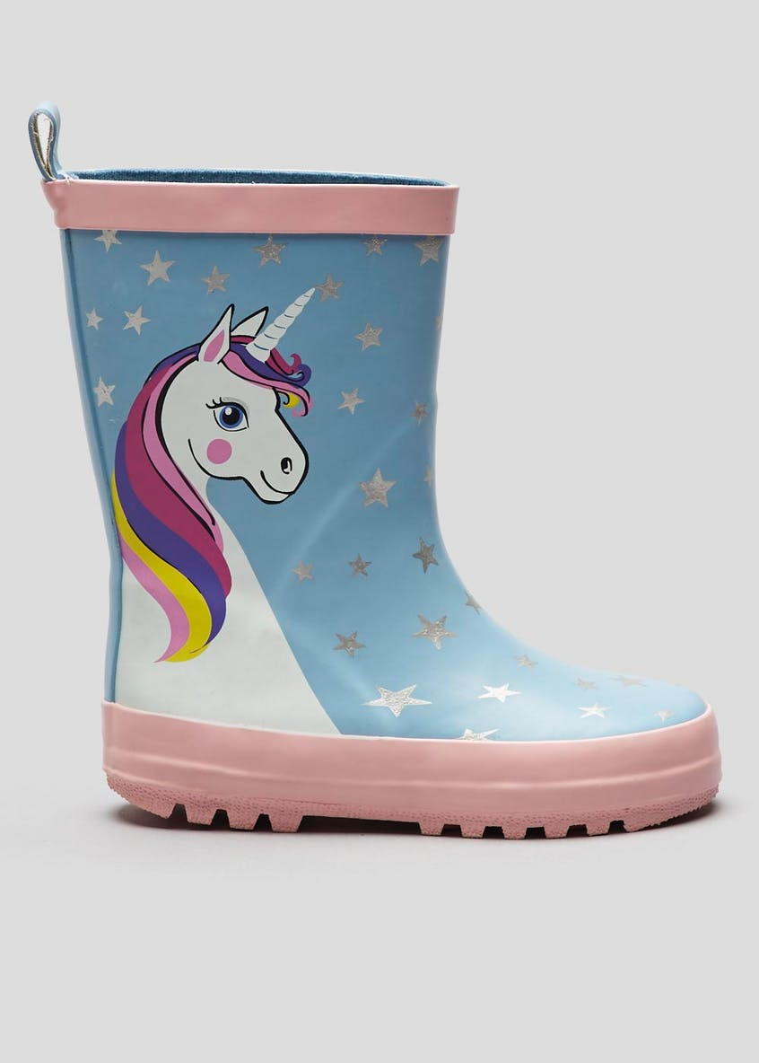 Girls Unicorn Rubber Wellies (Younger 10-Older 5)