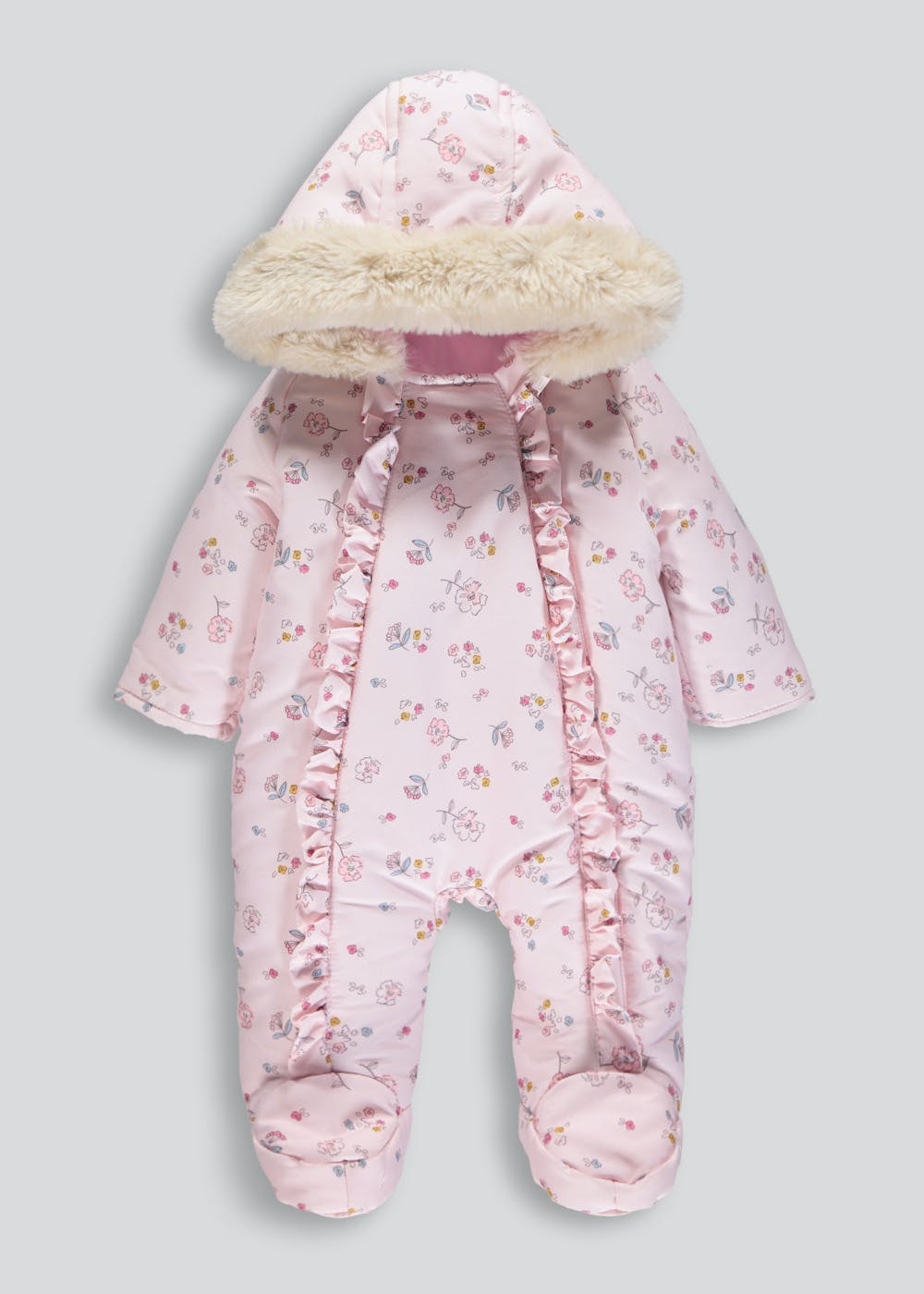 5083109ca Girls Floral Ruffle Snowsuit (Tiny Baby-18mths)