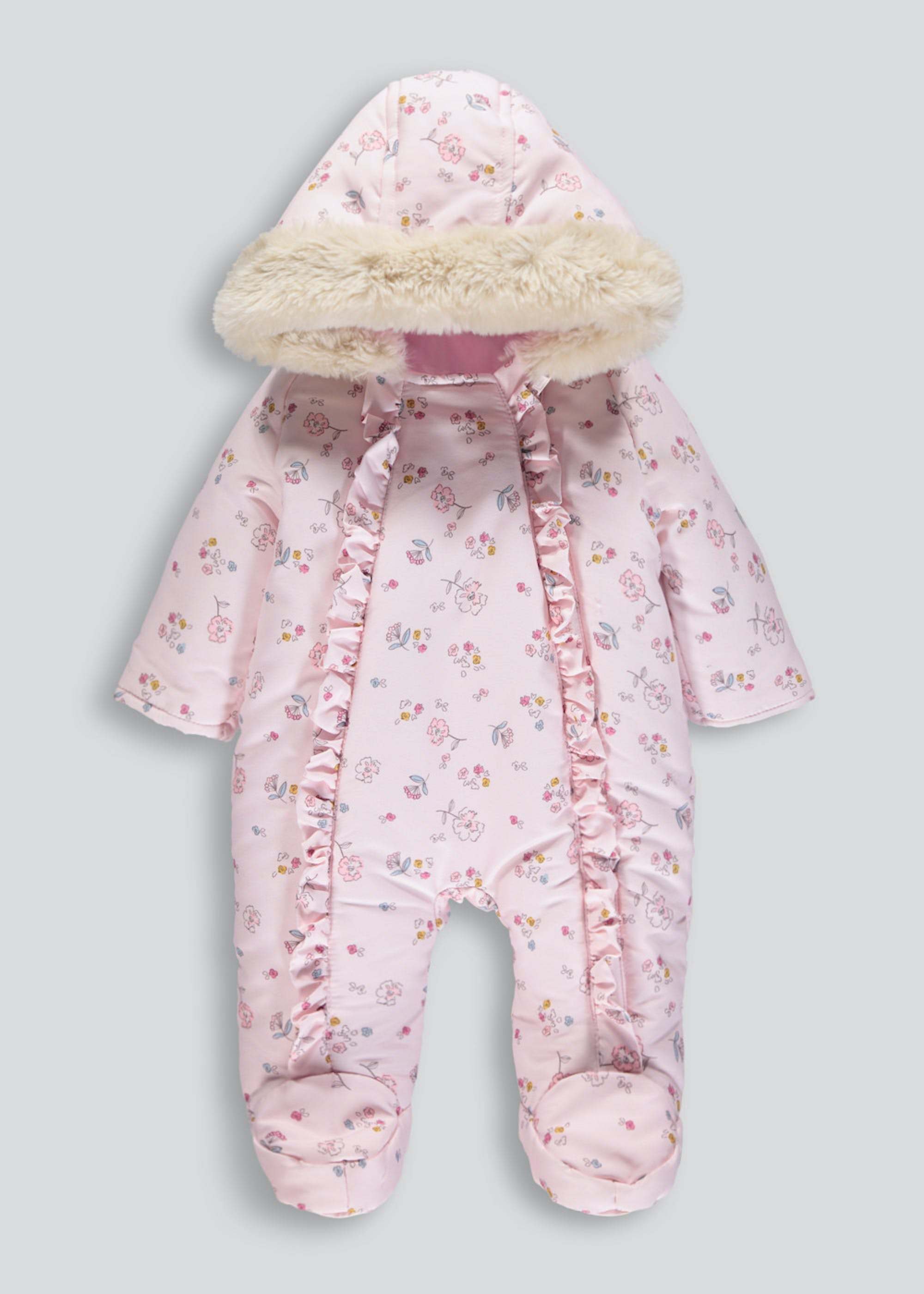 Girls Floral Ruffle Snowsuit (Tiny Baby-4mths)