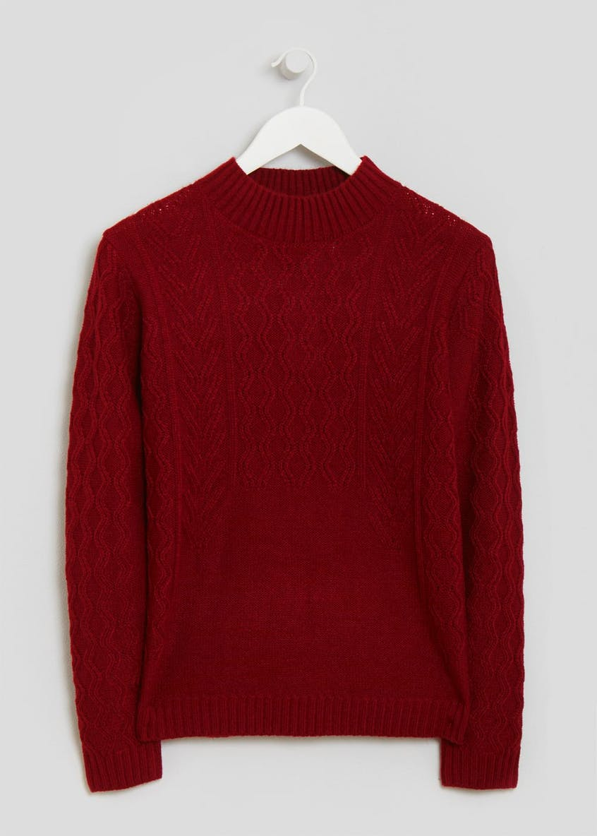 Cable Knit Funnel Neck Jumper