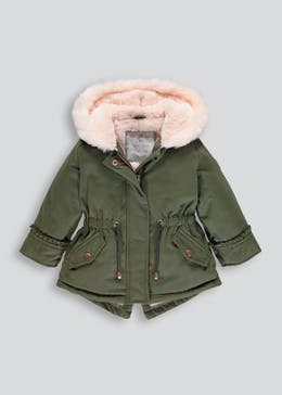 Girls Heart Badge Parka Coat (6mths-6yrs)