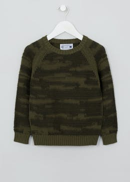 Boys Camo Crew Neck Knitted Jumper (4-13yrs)