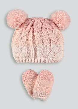 Girls Ombre Bobble Hat & Mittens Set (Newborn-23mths)