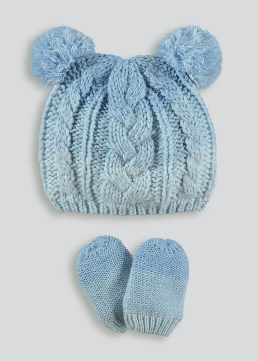 Unisex Ombre Bobble Hat & Mittens Set (Newborn-23mths)
