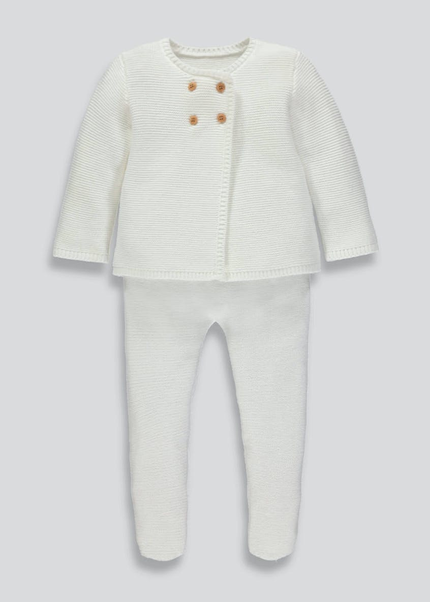 Unisex Knitted Cardigan & Trousers Set (Tiny Baby-18mths)