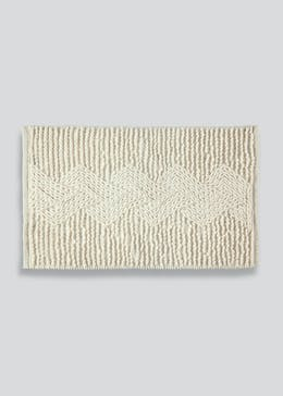 Chunky Cable Knit Bath Mat (80cm x 50cm)