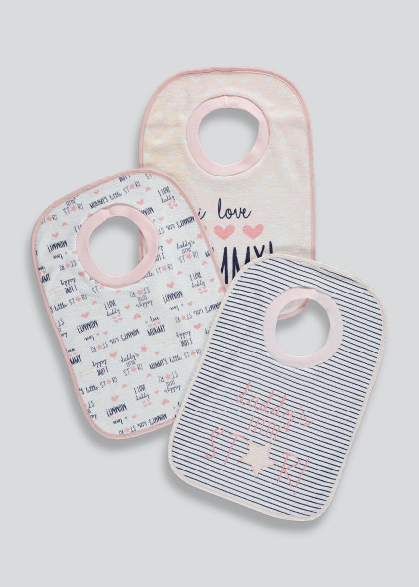 3 Pack Mummy & Daddy Pop Over Bibs (One Size)