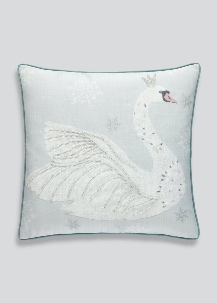 Embellished Swan Cushion (48cm x 48cm)