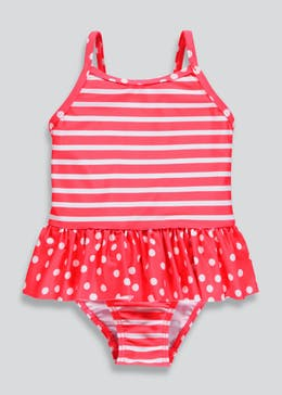 Girls Stripe Polka Dot Swimming Costume (3mths-6yrs)