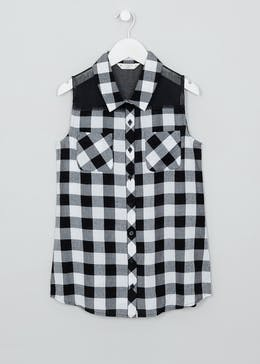 Girls Candy Couture Sleeveless Checked Shirt (9-16yrs)