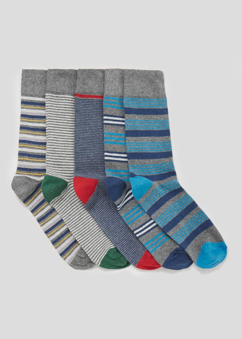 5 Pack Cotton Rich Stripe Socks