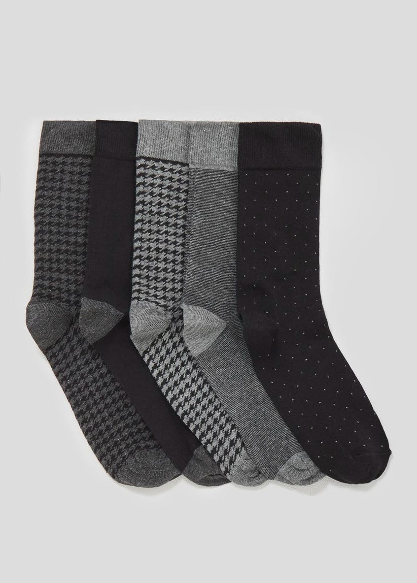 5 Pack Cotton Rich Houndstooth Socks
