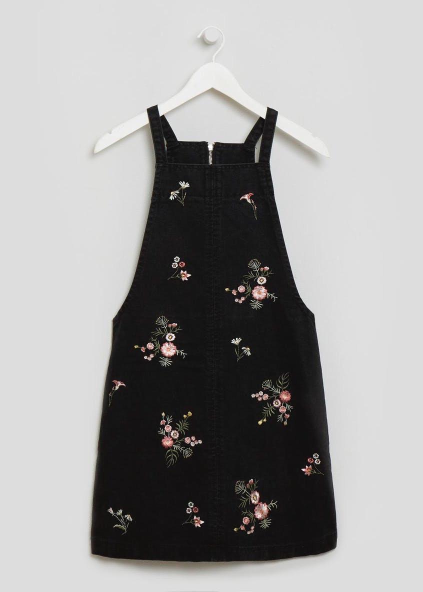 Floral Embroidered Denim Pinafore - Black