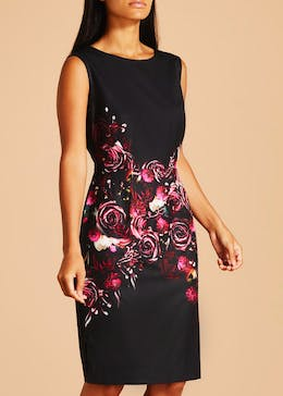FWM Floral Pencil Dress - Black