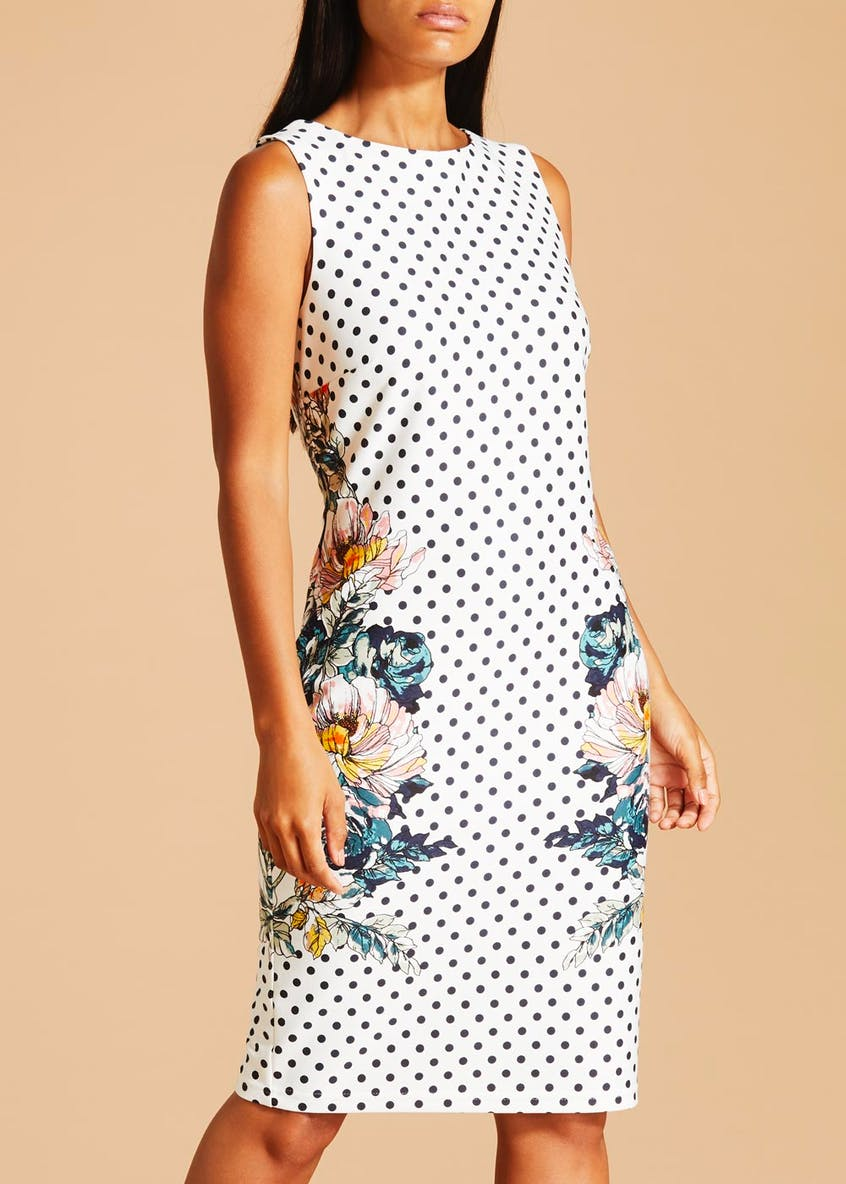 Soon Polka Dot Pencil Dress - White