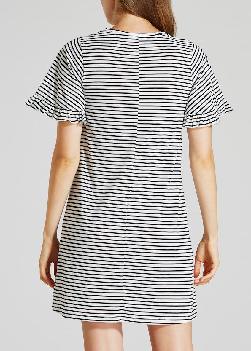 Stripe Frill Jersey Dress - White