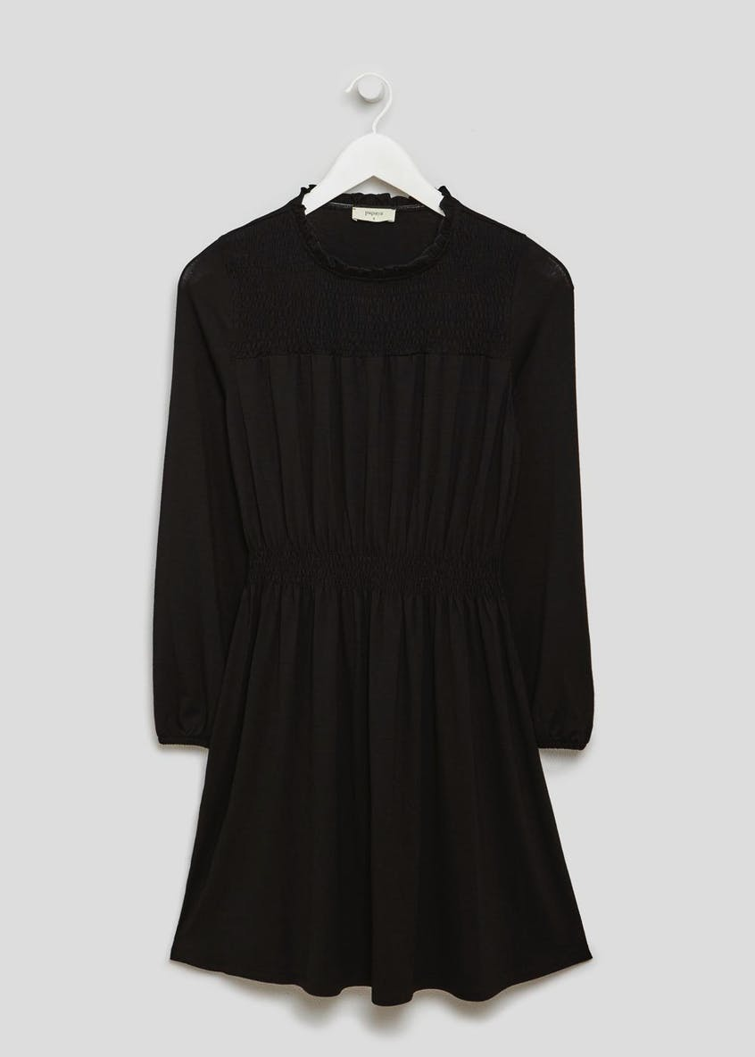 Shirred Long Sleeve Jersey Dress - Black
