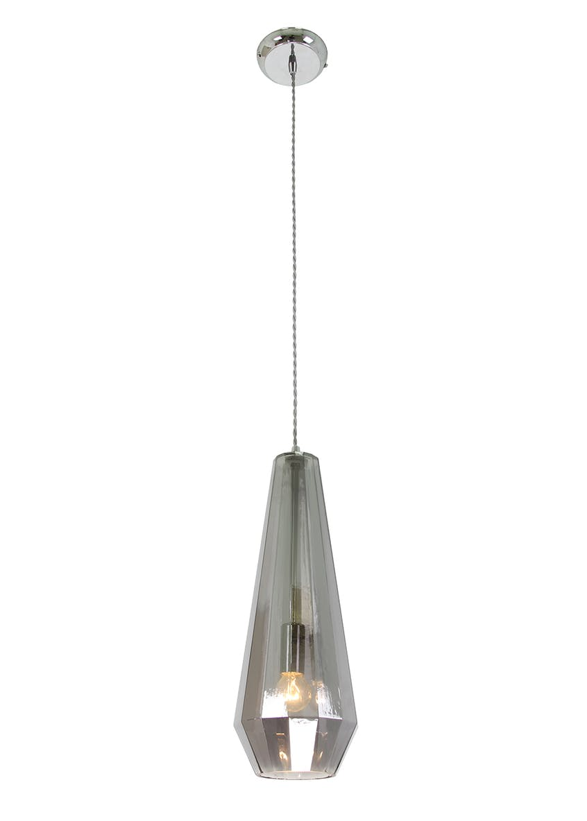 Oslo Smoked Glass Pendant Light (H123-50cm x W15cm)