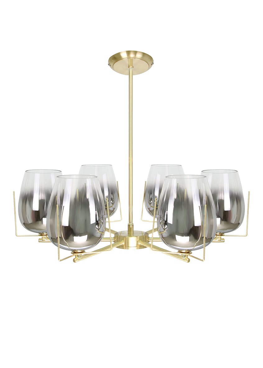 Tulip Smoked Glass Semi Flush Light (H42cm x W55cm)