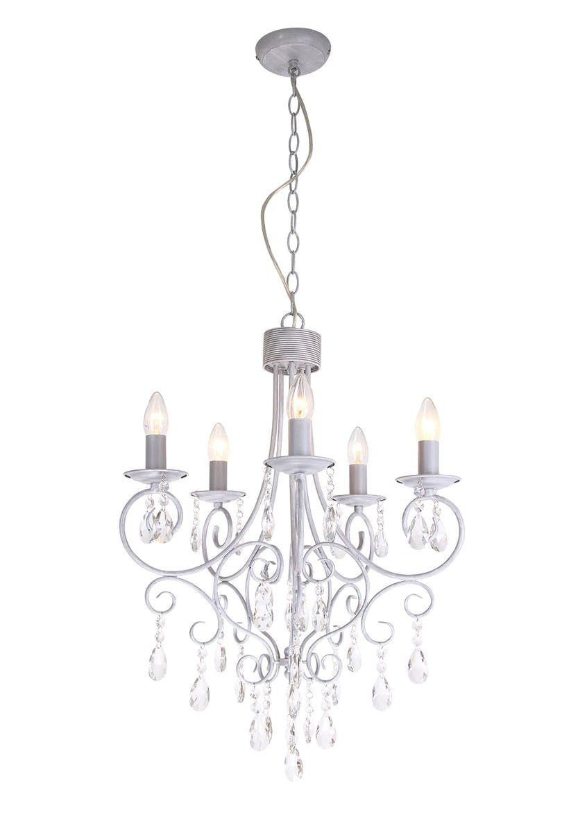 Bella 5 Arm Crystal Glass Chandelier (H145-65cm x W48cm)