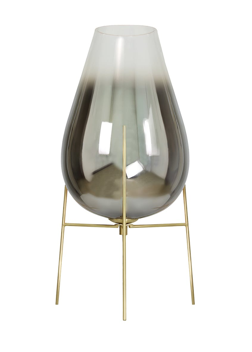 Tulip Smoked Glass Table Lamp (H45cm x W22cm)