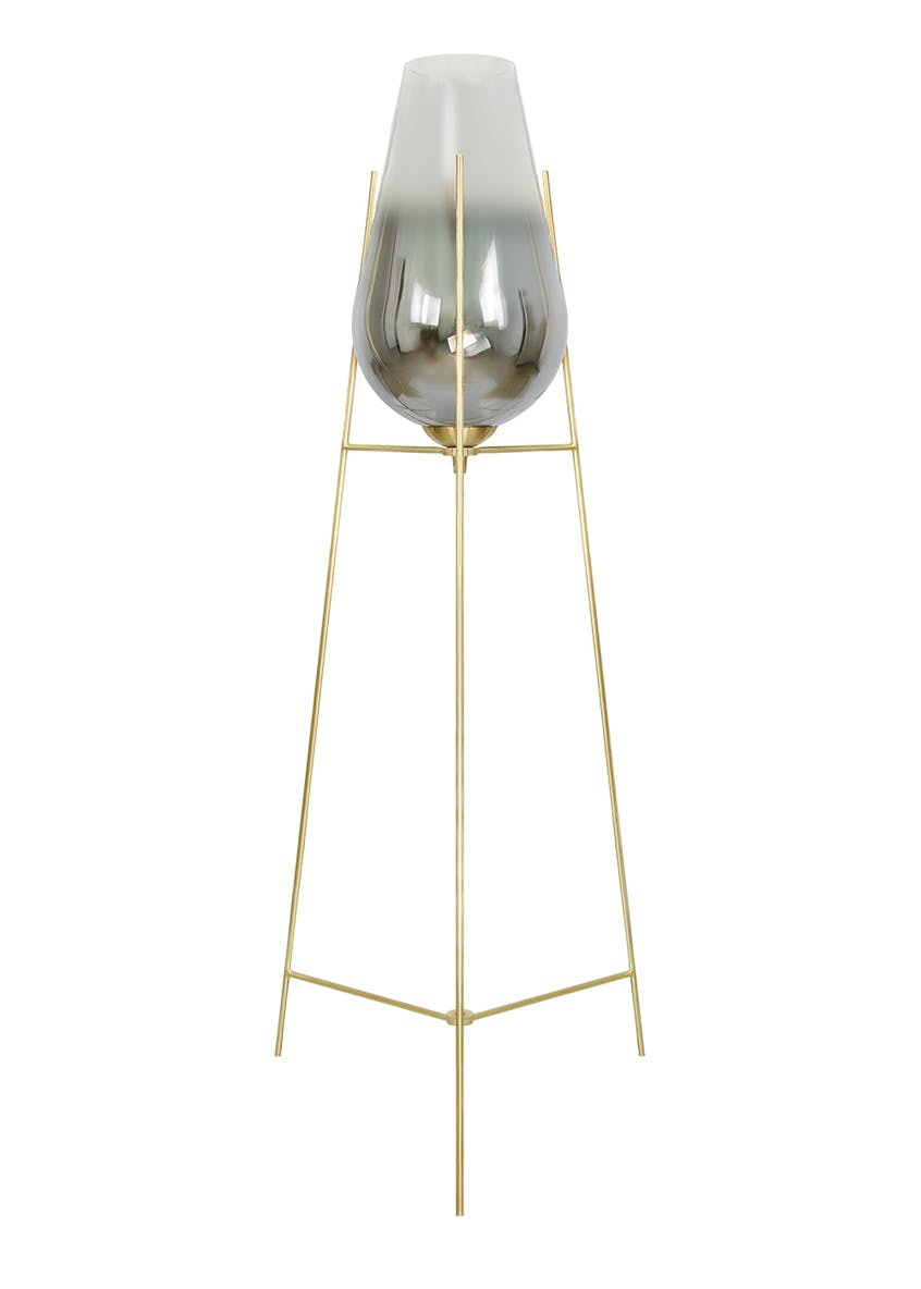 Tulip Smoked Glass Floor Lamp (H105cm x W46cm)