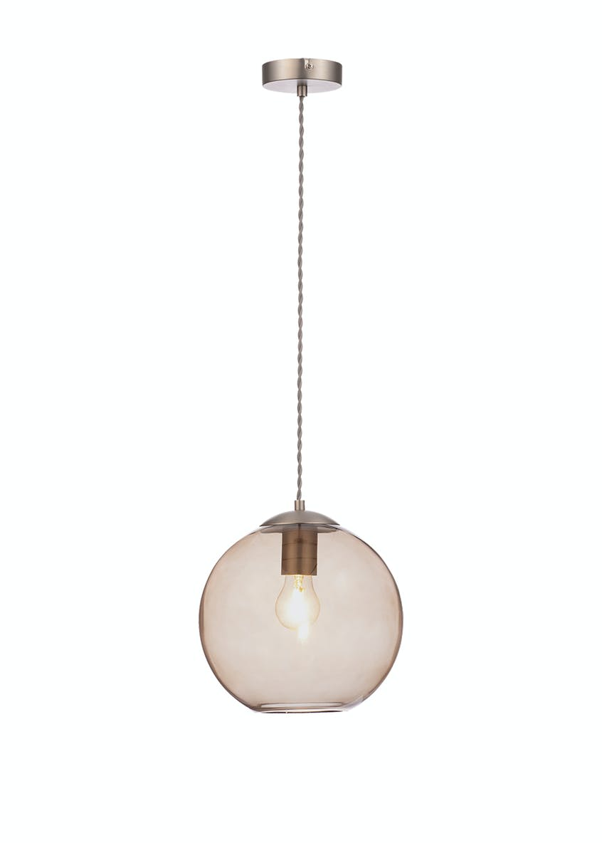 Elena Smoked Glass Pendant Light (H150-25cm x W25cm)