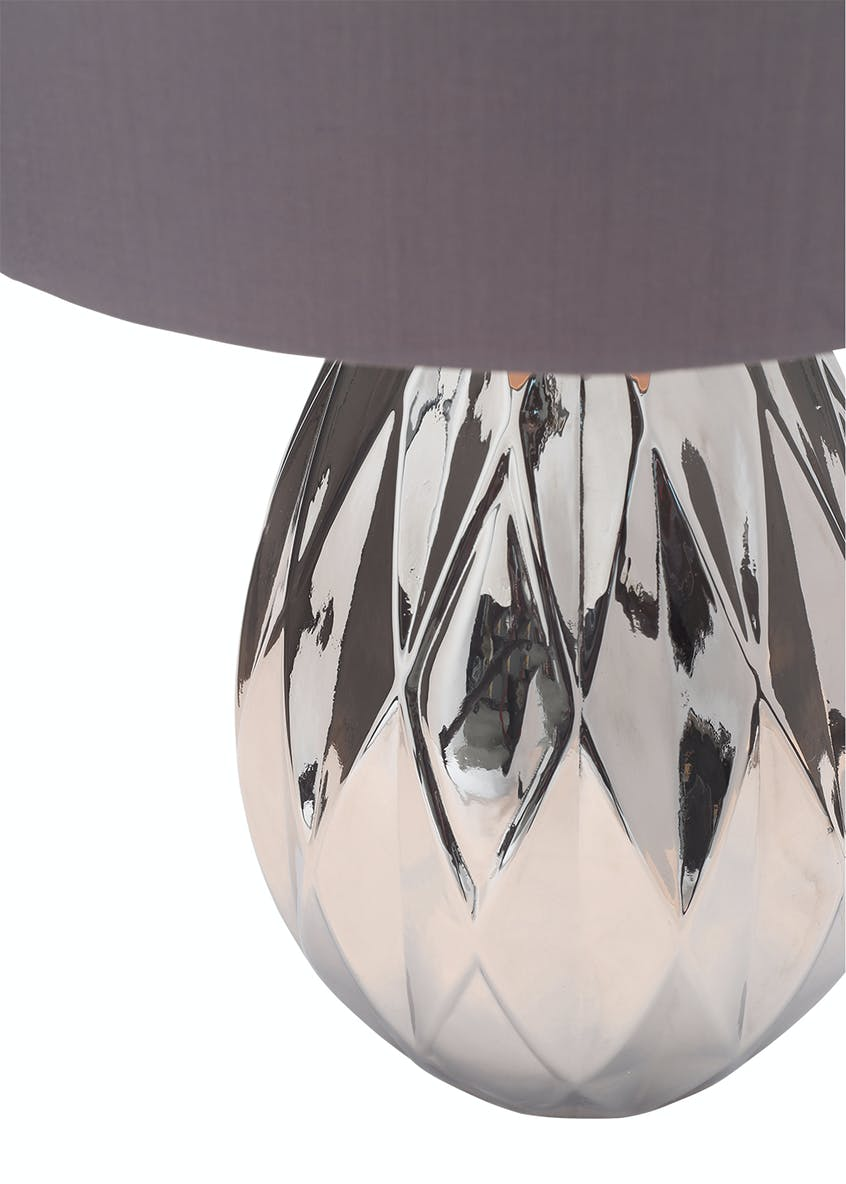 Bailey Smoked Glass Table Lamp (H47cm x W30cm)
