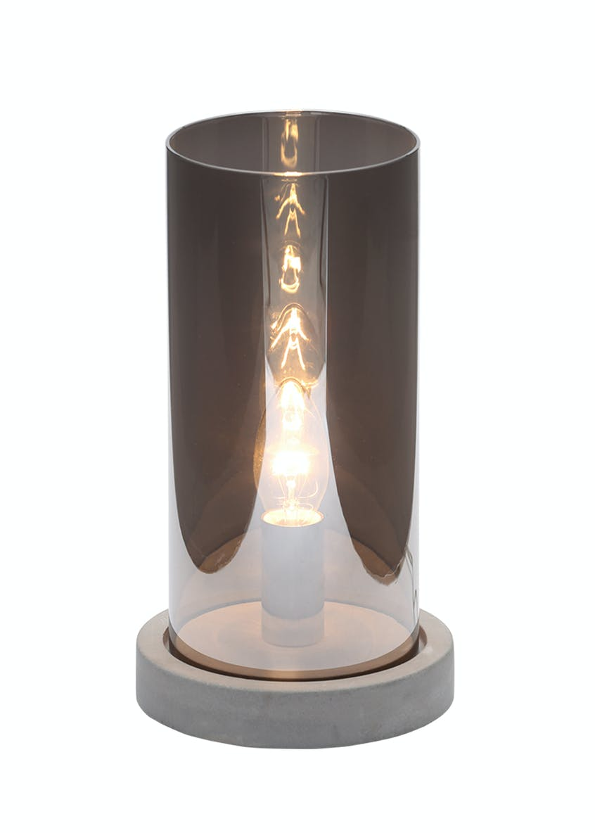 Margo Smoked Glass Table Lamp (H28cm x W15cm)