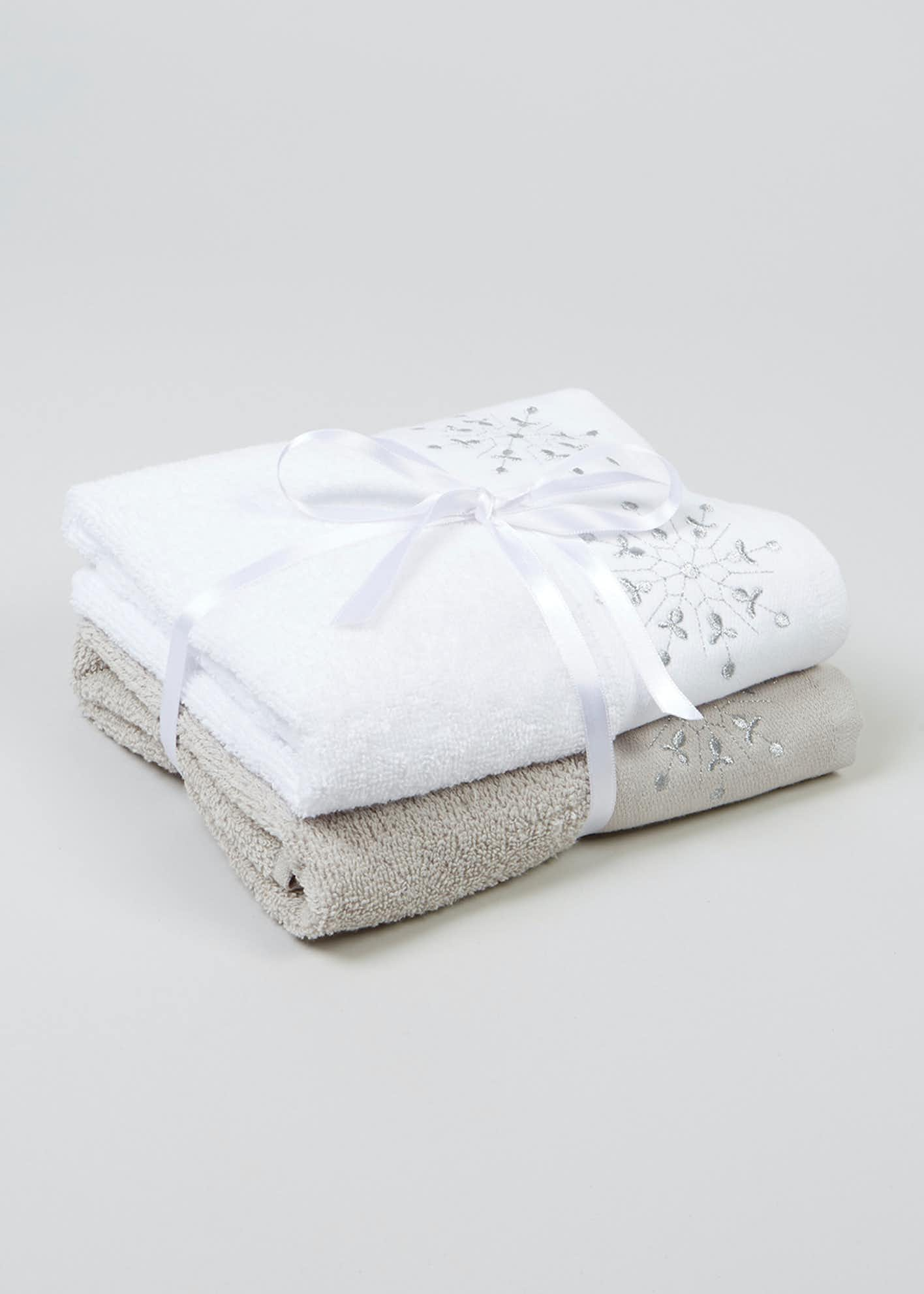 2 Pack Snowflake Embroidered Christmas Guest Towels (60cm x 47cm)